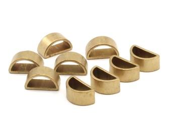 Brass Half Moon - 25 Raw Brass Semi Circle Thick Cut Connectors, Bracelet Finding, Bracelet Charm (6x11x0.8x5mm) D116