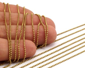 Tiny Ball Chain, 5 M. - (1.2mm) Raw Brass Ball Chain  ( Z018 )