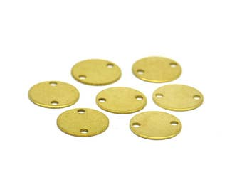 Brass Disc Connector, 50 Raw Brass with 2 Holes Connectors, Findings, Stamping Tags (10mm) Brs 72 ( A0254 )