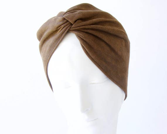Turban Hat Brown Leather Fall Fashion Winter Accessories Women's Hat Packable Hat Distressed Leather Hat 1940s Turban Hat Boho Chic