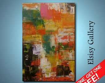 Original abstract painting palette knife wall art deco by Elsisy 36x24 Free US shipping