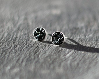 Tourmaline Earrings / Greenish Black / Dark Earrings / Stud Earrings / Minimal Earrings