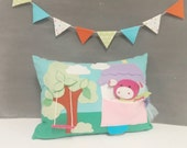 Playful Pillow with Piggy in the House - Children, Nursery, Decor, Toy, Pink, Pig, Girl, Gift