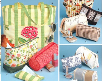 TOTE BAG Sewing Pattern ~ Tote Bags Cosmetic Case Pouches Tissue Cover OOP 9949