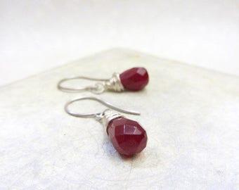 Sterling silver dangle earrings, Rubilite drop earrings