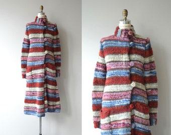 Tomorrowland sweater coat | vintage 1970s wool coat | long wool knit coat