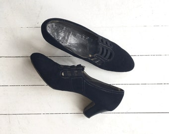 Jazz Cage heels | vintage 1920s shoes | black 20s heels 7.5