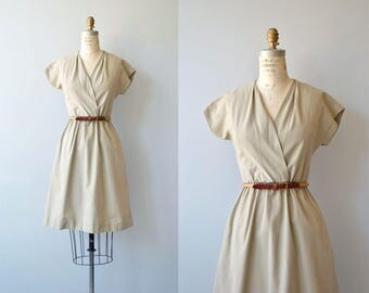 Kami khaki dress | vintage 1980s dress | khaki wrap front 80s dress