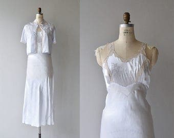 Spun Silver satin nightgown and jacket | vintage 1930s nightgown | 30s lingerie