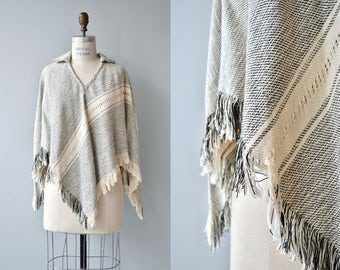 Spirit Guide woven poncho | vintage fringed poncho | woven cotton 1970s poncho