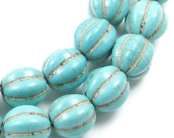 "15"" Gemstone Beads-Blue Green Candy Turquoise Round PUMPKIN 12mm (33)"