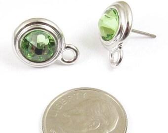 August Swarovski Crystal Birthstone Earring Posts-PERIDOT & SILVER (1 Pair)