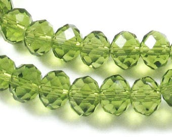 "17"" Faceted Rondelle Glass Beads-OLIVE GREEN 6x8mm (70)"