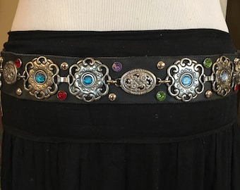 Black leather with rhinstone and silver medallions, belt.festival, tribal, dance