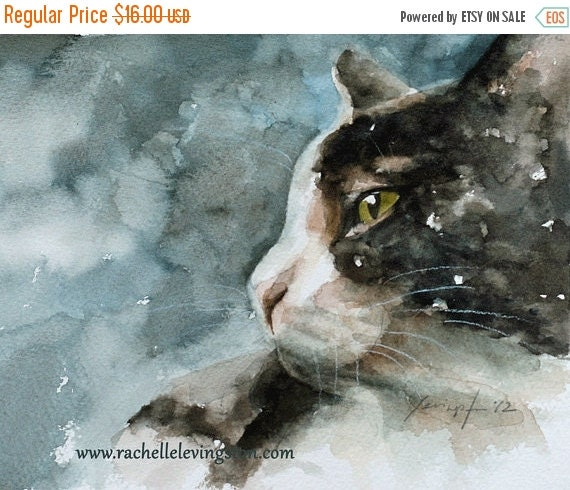 cat lover gift Black Cat PRINT cat art print 8x10 Print of cat from cat painting Cat artwork blue Kitten Print cat nursery Cottage chic
