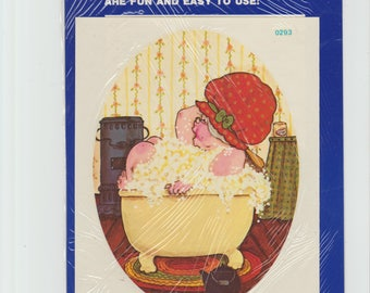 Vintage Bath Tub Grand Mother  Decoupage water applied decal Meyercord Company,farming,meme,bubbles,stove, matching grandpa for sale