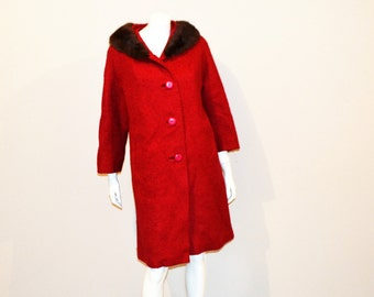 Vintage Coat Cherry Red Boucle Wool with Fur
