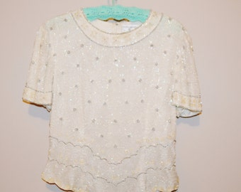 SALE:  Vintage Blouse Champagne and Ivory with Silver Blouse