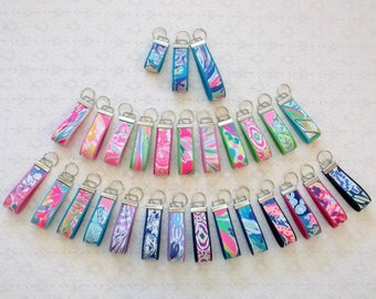 Preppy Colorful Lilly Fabric Key Chain Key Fob Many Colors 3 Sizes