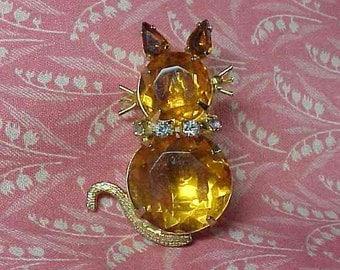 Vintage Yellow Cat Full Body Amber Rhinestone Brooch pin