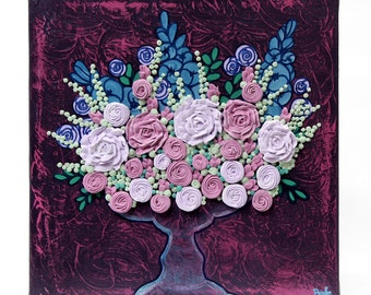 Canvas Still Life Floral Painting - Purple and Pink Art Decor Roses - Small 10x10