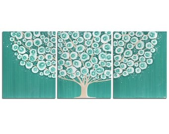 Canvas Art Tree Painting Original Triptych in Teal - Large 50x20
