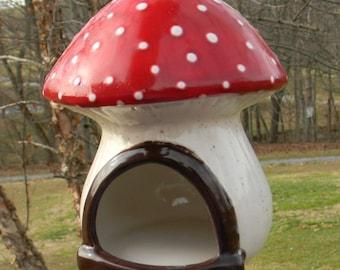 Ceramic Mushroom Red Toadstool Hanging Ceramic Bird Feeder Mushroom House - Unique home for your Gnome, Fairy Garden or hamster home