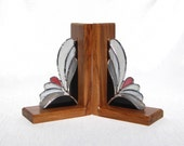 Pair of Bookends Grey Stained Glass and Brazilian Cherry Bookends Book Ends Glass and Wood Bookends Gray and Rose Bookends Bookends Book End