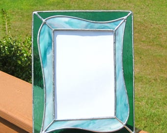 Turquoise Swirls 5 x 7 Stained Glass Picture Frame Baby Frame Turquoise Frame Portrait Frame Landscape Frame Shades of Turquoise Glass Frame