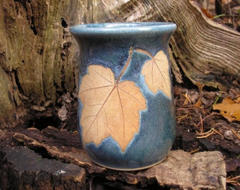 Red Maple Leaf Mug 15 oz., raspberry red,handmade pottery mug,  leaf mug, ceramic mug, favorite mug