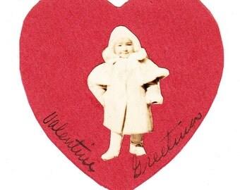 vintage Valentine Handmade Red Heart Photo Snapshot Child Album Find