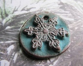 Dark Clay Turquoise Snowflake, ClassicBead, Snowflake pendant, Handcrafted Stoneware Pendant, by tracee, The Classic Bead, art bead