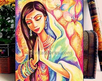 Praying woman painting, pray, spiritual painting, lotus art, inspirational art, wall art, home decor woman art, ACEO wood block, CH