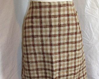 "Vintage Plaid Wool Skirt Henry Miller Hartford Skirt Vintage Lined Wool Skirt Size Small/25.5"" Waist Earth Tone Plaid Vintage 50s 1950s"