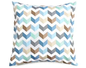 Blue Aqua Chevron Zig Zag Pillow Cover -Waverly Tip Top Ethereal - Blue Aqua Grey Tan Ivory -  You pick Size