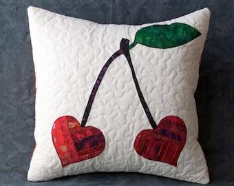 Valentines day decor, cherry fabric, I love you, love gifts, boyfriend gift, anniversary gift, cotton anniversary gift, gift for girlfriend