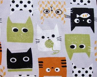 Animal Print Fabric By The Yard - Cats with Yarn - Cotton Fabric - Half Yard