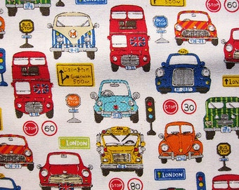 Japanese Fabric - Cotton Fabric - Vehicles Illustrated on Natural - Fat Quarter
