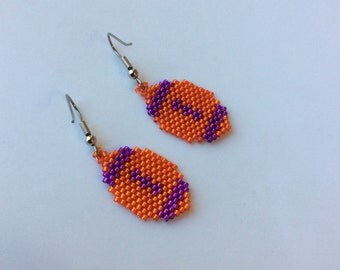 Purple and Orange Beaded Football Earrings
