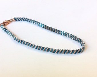 Turquoise and Copper Beaded Mesh Band Anklet - Ankle Bracelet 10""