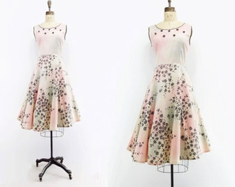 1950s Vintage Dress Pastel Ombre Dress 1950s Floral Dress Pink Cotton Dress Fit and Flare Dress 1950s Sun Dress Black Floral Dress m