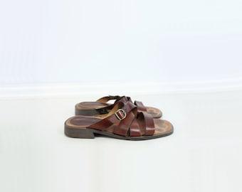 90s Leather Sandal 90s Brown Slide Vintage Brown Sandal Size 9 Sandal 90s Leather Slide Low Heel Slide 90s Strappy Sandal Size 40 Size 9
