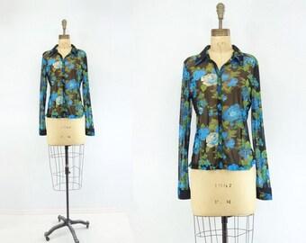 Black Floral Blouse Vintage 90s Blouse Boho Floral Blouse 90s does 70s Blouse Turquoise Blouse Vintage Black Shirt Button Down Blouse s