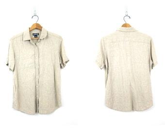 Button Up Linen Blouse Minimal Natural Oatmeal Beige Top Simple Short Sleeve Collar Shirt Vintage Women's Size 12 Large