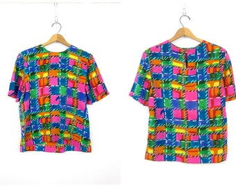 Pink SILK Geometric Print Short Sleeve Mod TShirt Boxy Top Puprle Blue Yellow Hipster Tee Vintage Womens size Medium