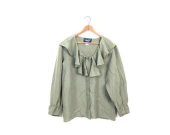 Sage Green Silk Blouse 80s 90s Minimal Boho Blouse Ruffle Bib Top Peasant Shirt Bohemian Ruffles Preppy Top Vintage Womens Small