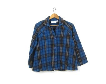 Cropped Plaid Shirt Jacket Vintage 90s Cotton Flannel Shirt Coat Button Up Preppy Blue Cropped Jacket Womens Size Small