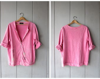 90s Oversized Shirt Jacket Pink Zip Up Sweatshirt Top Athletic Work Out Tunic Top Vintage Sporty Minimal Hipster Jogging Top DES Large