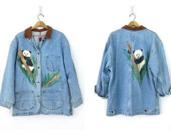 Vintage PANDA Field Jacket Denim Jean Jacket Loose Fit Barn coat Painted Artsy Button Up Spring Coat Chore Jacket Womens size Large