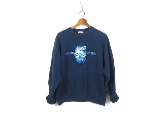 Extinct is Forever Navy Blue sweatshirt Cotton shirt Animal Tiger Sweater Activewear Sports Sporty Top Womens size Medium Large